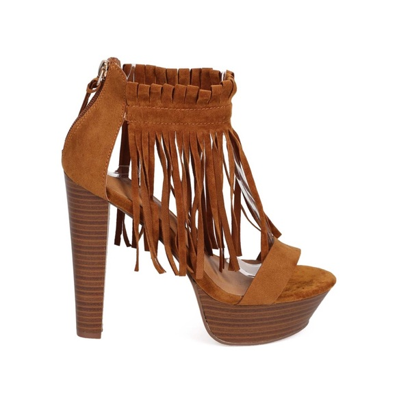 e8203730f447a NEW!!! Suede Peep Toe Fringe, Wooden Chunky Heel Boutique
